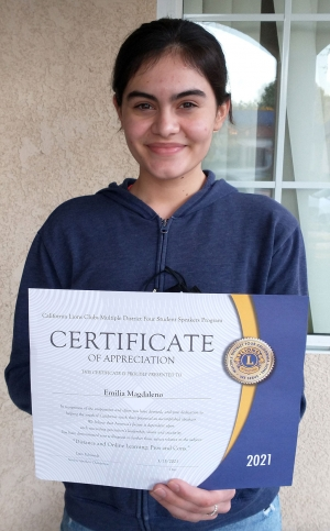 Fillmore Lions Club annual Student Speaker Contest winner Emilia Magdaleno, a junior at Fillmore High School.