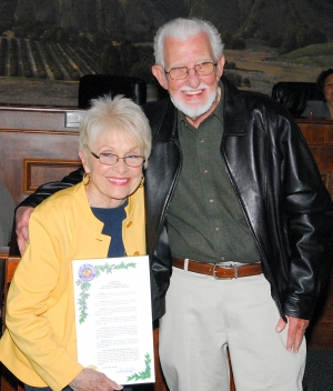 Judy Dressler received a commendation for her six years of service as Chair of the Vision 2020 Civic Pride Committee. Dressler was one of the founding members of the Committee. Mayor Patti Walker thanked Ray Dressler (shown) and the Committee for their support and hard work.