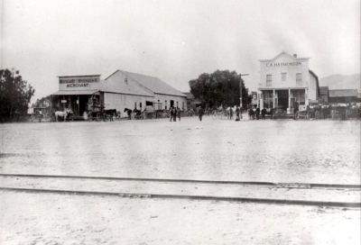 The intersection of Central and Main circa 1905. The second Post Office was on the NE corner in a store owned by C. C. Elkins, the third was in the building on the NW corner, owned by Richard Stephens.