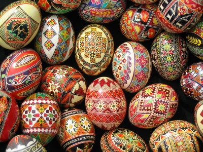 Ukrainian traditional decorated eggs from artist/photographer Bernadette DiPietro's private collection