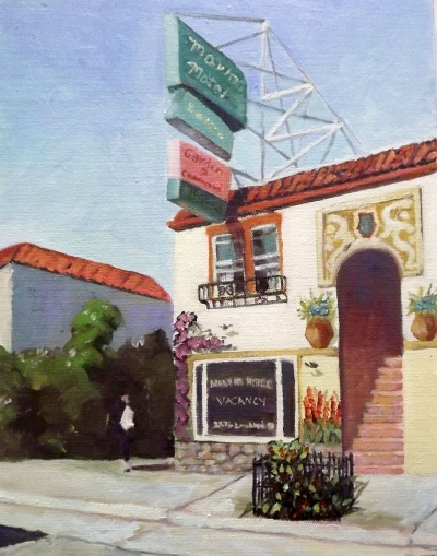 Marina Motel – 14x11 oil on board by Christine Apostolina Beirne.