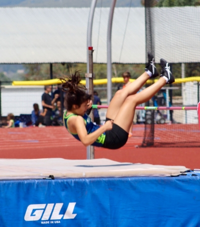 Pictured is one of the Heritage Valley Blazers as she lands after her pole-vaulting jump in this past Saturday's