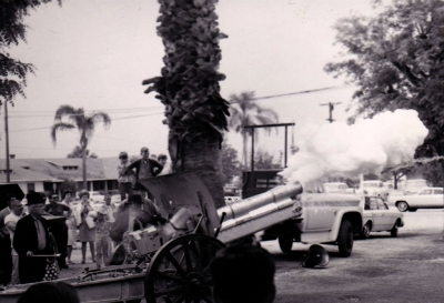 The Veterans Service Club formed in 1927 in Fillmore, and in July 1928 the Veterans Service Club ordered a cannon as a gift to Fillmore from the Rartian Arsenal in New Jersey. Pictured above is Len Hawthorn firing the Howitzer in 1979.