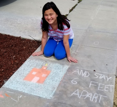 Heather's chalk art drawing is a good reminder to stay safe during the COVID-19 outbreak. Don't forget to participate in the Fillmore Chalk Fest this Saturday, April 11th.