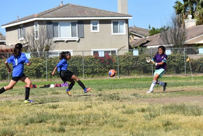 California United's Marlene Gonzales taking a shot at the goal during the game this past weekend.