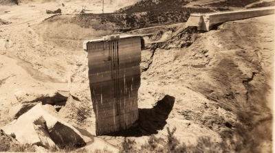 "Pictured above is the ""Tombstone"" which is all that remained standing after the collapse in 1928."