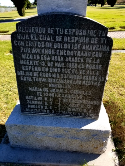 The Carrillo tombstone at Bardsdale Cemetery.