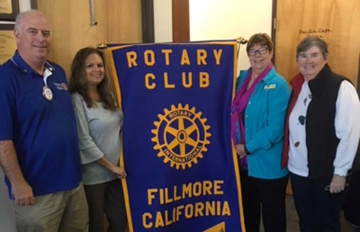 (l-r) Rotary Club members Jerry Peterson and Ari Larson with Sue Zeider and Martha Gentry. Sue and Martha will be speaking at the St. Francis Dam 90th Anniversary this coming March. Photo courtesy Ari Larson.