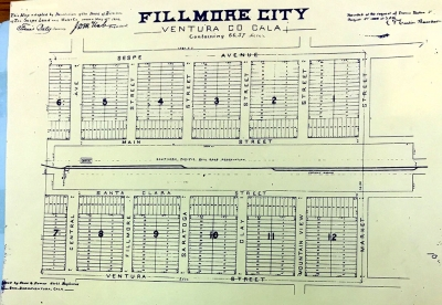 Map of Fillmore. A Plan for Fillmore City approved by the county in August 1888.