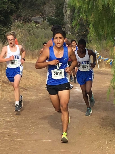 FHS Cross Country's Jorge Acevedo competing at the Lake Casitas Course in Ojai. Photo courtesy Kim Tafoya.
