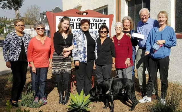 The Santa Clara Valley Hospice as they accept their $4,500 donation towards their 100 Women's group. From left to right, Ari Larson, Barbara Vogel, Michele Morony, Martha A. Navarrete, Rachel Bustillos, Joan Toston, Jeanice Lambert, Bob Russell and Melissa Mabry. Photo courtesy Santa Clara Valley Hospice.