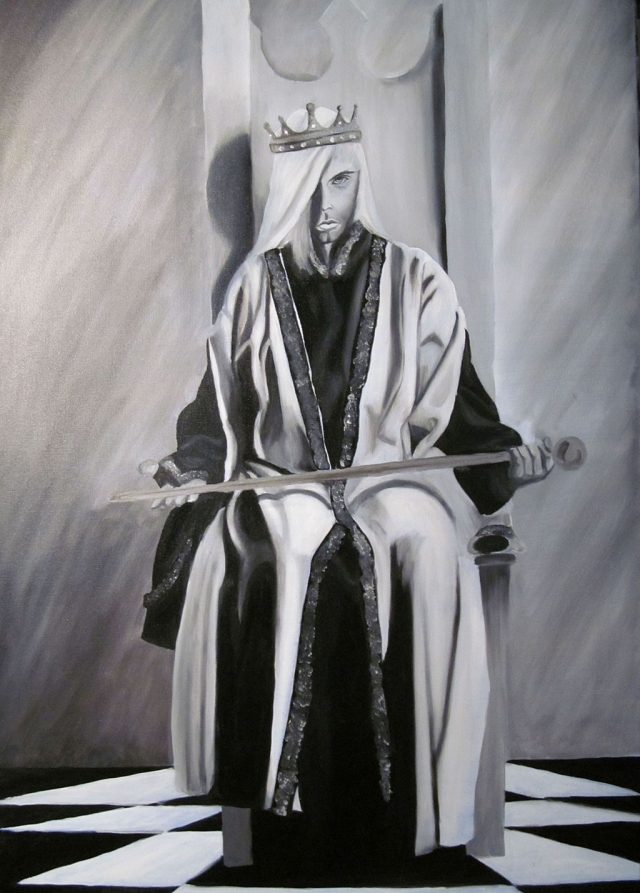 """The White Chess King"", oil on canvas, 24"" x 36"", by Michele Baggenstoss"