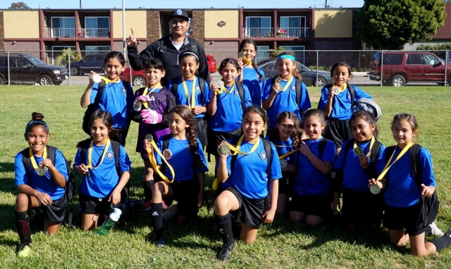 On Saturday, January 27th Fillmore's California Untied U-10 Girls took first place in the Ventura County Soccer Club Championship. Pictured top left: Alondra Leon, Coach David Vaca, Fiona Cabral, Valerie Rubio, Delila Ramirez, Lizbeth Mendez, Jazleen Vaca, Danna Castillo. Bottom left Joelle Rodriguez, Sara Diaz, Nathalia Orozco, Anel Castillo, Liana Lomeli, Eliana Tello, Jiselle Posadas, Hailey Robledo, (not pictured D'andra Amezcua, Assistant Coach John Cabral). Photo Courtesy Nancy Magana & Susan Torres.