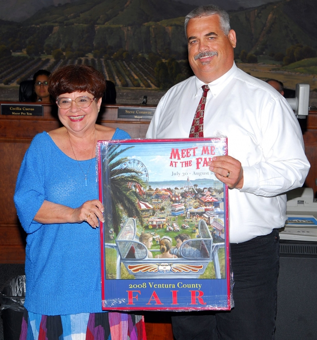 The new 2008 Ventura County Fair poster was presented to Mayor Steve Conaway during Tuesday's regular City Council meeting.