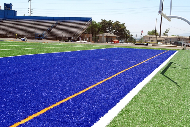 New turf has been installed at the FHS track, courtesy of Astro Turf. The first shipment of turf proved defective.