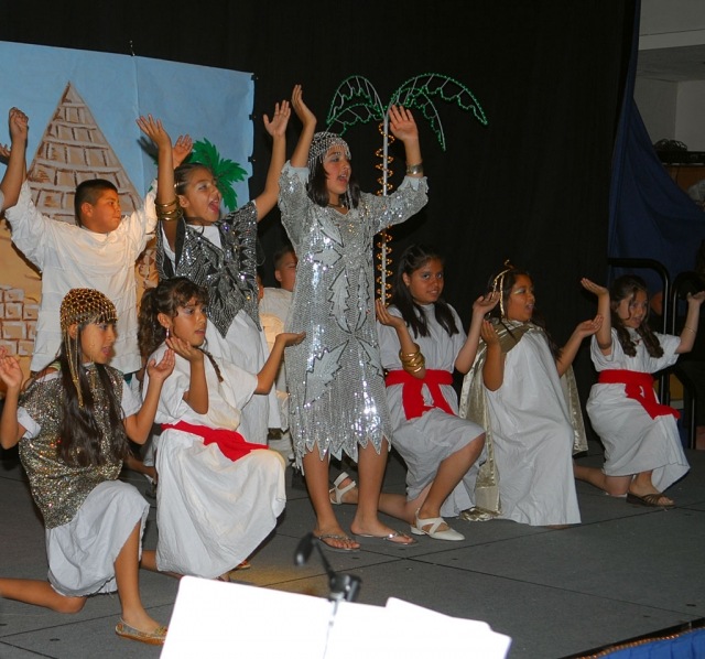 "Fourth grade and Sespe School GATE students presented the play ""Egypt, the Musical"" on May 21st, written and directed by teacher Mr. Spalding."