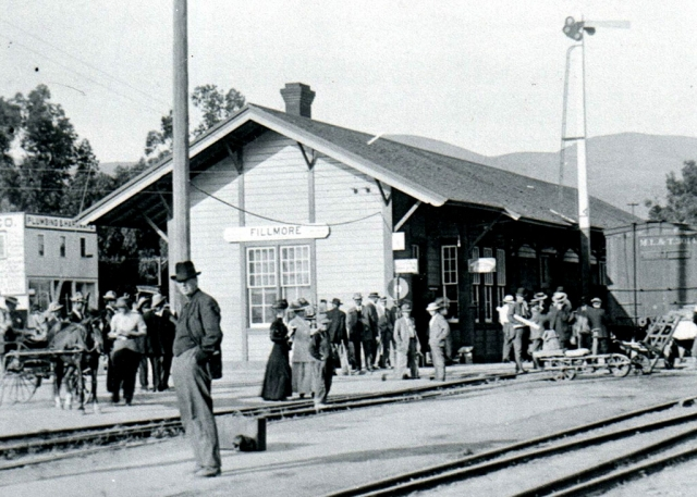 The Fillmore Train Depot back in 1910 during its heyday. Photos courtesy Fillmore Historical Museum.