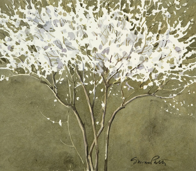 """A Family of Trees"" by Susan Petty, watercolor."