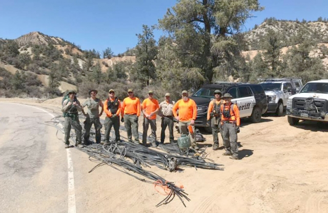 On March 27th, Fillmore Search and Rescue and Lockwood Station joined forces to clean up an old, illegal marijuana grow location in the Los Padres National Forest near Lockwood Valley. The team removed approximately 6,000 feet of irrigation line from the forest which will aid in future efforts to combat the illegal cultivation of marijuana on public forest lands. Courtesy Ventura County Sheriff's Department Facebook.