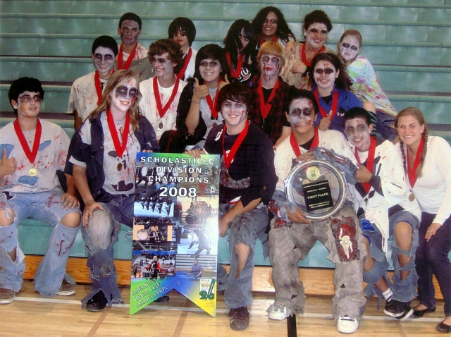 The Fillmore High School Percussion Ensemble brought home the gold medals and first place trophy for the Scholastic C Division of the American Drum Line Association at Santiago High School in Corona on Saturday April 26, 2008. Show Title: The House - music by Alan Keown and Brian Mudget. Drill design by Alan Keown. Licensed to Marching Show Concepts. David Adams and Colleen Anderson – instructors, Chris Fernandez - Director of Instrumental Music. American Drum Line Association - 26 years of drum line competitions, in 2008 there are over 120 competing drum lines and percussion ensembles, representing approximately 2,000.