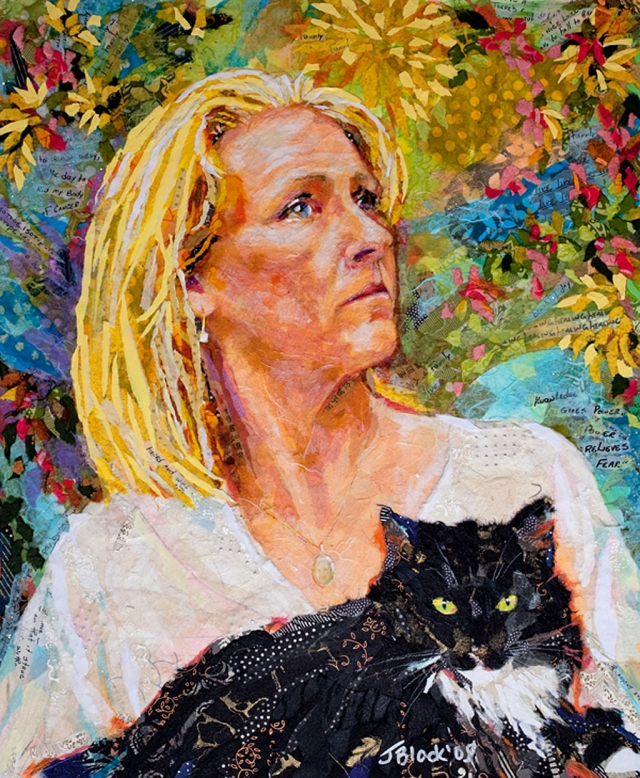 """In Tamilyn's Garden"" collage by Janet Black (2009)"