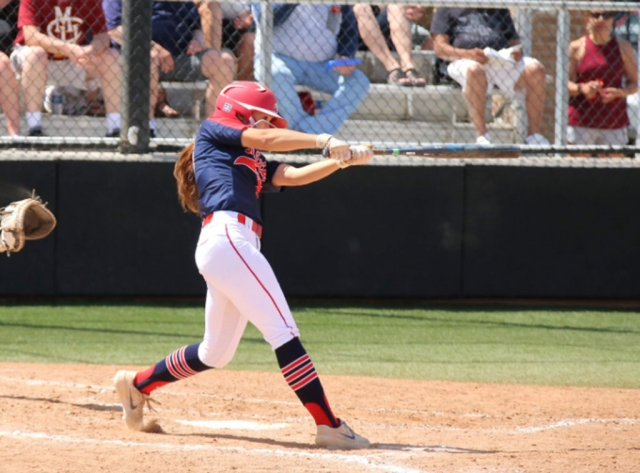 Pictured above is Kasey at bat during one of her games at Dixie State.