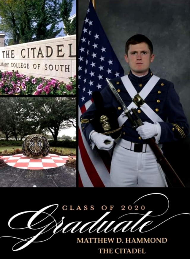 What do Charleston, South Carolina and Fillmore, CA have in common? They have one student, Matthew Hammond, who graduated from schools in both cities, 2500 miles apart. Matthew attended Sespe Elementary, Fillmore Middle and graduated from Fillmore High School in 2016. He then went on to attend The Citadel Military College in Charleston, South Carolina after receiving an Army ROTC National Scholarship. Via an online ceremony, on Saturday, May 9, 2020 at 10am he graduated from The Citadel after completing the last two months of his senior year online education due to COVID-19. Also online, at 2pm on Saturday, May 9, 2020 he was commissioned into the Army as a 2nd Lieutenant. Come late October 2020 he will begin his training as a Field Artillery Officer at Fort Sill, Oklahoma.