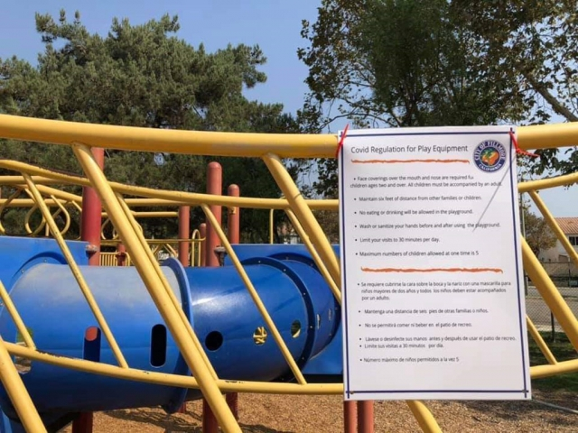 Outdoor playgrounds in California have been given the green light for reopening. Ventura County recommends the following attached in pictures of signage at all playground equipment locations in Fillmore (public parks). Do recognize the following as well; all playground equipment & all other surfaces at Fillmore public parks are not being sanitized by City Staff; by using the equipment you are doing so at your own risk. Stay safe everyone. Courtesy City of Fillmore Facebook Page.