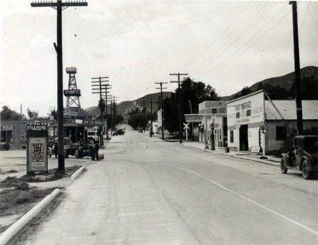 Piru in 1929 with the Mission Inn on Center Street at the intersection of Telegraph Road next to the Piru Garage on the north side of the street. Photos Courtesy Fillmore Historical Museum.