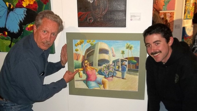 "Juror Bob Privitt and Oxnard College student Danny Lawlor in front of Lawlor's first-place winning artwork ""Gold Coast Transit"". Photo credit: Florentino Bacoan"