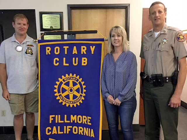 Pictured is President Andy Klittich with Rotary's two new inductees, Lisa Cook and Fillmore Chief Eric Tennessen. Photo Courtesy Martha Richardson.