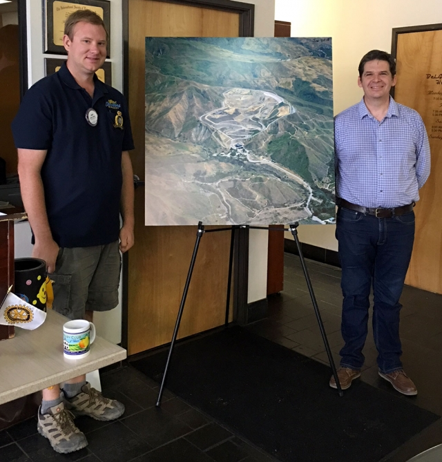 Fillmore Rotary President Andy Klittich (left) with Matt Baumgardner from Toland Landfill, who reviewed a map of the site that opened back in the 90's, and shared about the overall operation of the landfill. After the Thomas Fire debris from homes etc. they hauled there around the clock. The landfill returned to normal operation in June. Tours are available anytime. Photo courtesy Martha Richardson.
