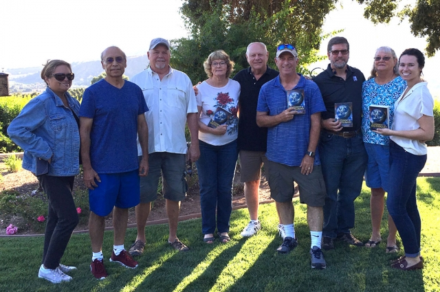 Several Rotarians gathered to prepare dictionaries for the Rotary Club of Fillmore Literacy Project. They will be delivering dictionaries to each 3rd grader in the District. Photo courtesy Martha Richardson.