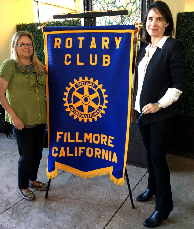 Pictured above is Rotary Club President Ari Larson with Elena Brokaw, the Barbara Barnard Smith Executive Director of the Museum of Ventura County, who was the speaker for Fillmore Rotary. The Museum began in 1913 with the purpose to collect, exhibit, educate and present programs. It was called the Pioneer Society. In later years, they began to move away from the traditional museum, and founded the Agricultural Museum in Santa Paula. Now each of the museums have become more hands-on, child friendly and fun, with special events for the whole family. Courtesy Martha Richardson.