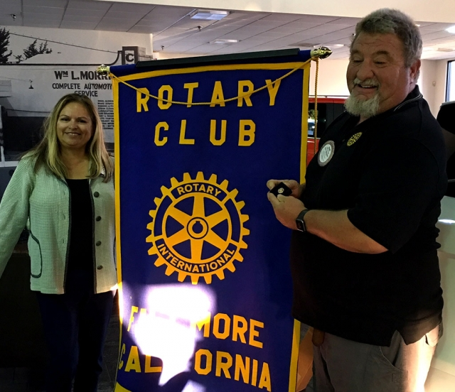 Pictured are Rotary President Ari Larson and Rotary member Dave Wareham who was presented with a Paul Harris pin. Dave had made a special donation to the Rotary Foundation in memory of Don and Ruthie Gunderson. Photo Courtesy Martha Richardson.