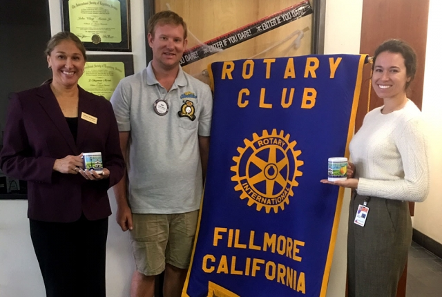 Rotary President Andy Klittich, Nancy Schram, Director of the Ventura County Library and Katharine McDowell, new Fillmore Library supervisor who discussed the expansion of our current small library.