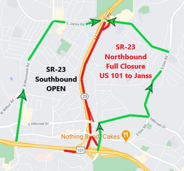 57-hour weekend full closure of northbound lanes on State Route 23 (SR-23) from U.S. 101 to Janss Road in Thousand Oaks for pavement rehabilitation.