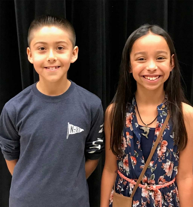"Last week Mountain Vista Elementary held their Annual Spelling Bee. It is one of the most competitive spelling bees held at Mountain Vista. This year's winner was Adrian Fuentes (left) and runner- up Aurora Arellano. The spelling bee went for 18 rounds with Adrian spelling ""parenthetical"" as his winning word. Good luck Adrian who will move onto the next round which will be held at Cal State University Channel Islands. Photo Courtesy Kelly Myers of Mountain Vista Elementary School."
