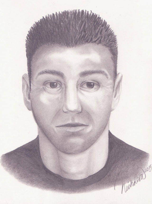 "The suspect is described as an adult Hispanic male, 5'8"" and 150 pounds with short spiked hair. He may be associated with a silver compact vehicle. The attached sketch is a depiction of the suspect."