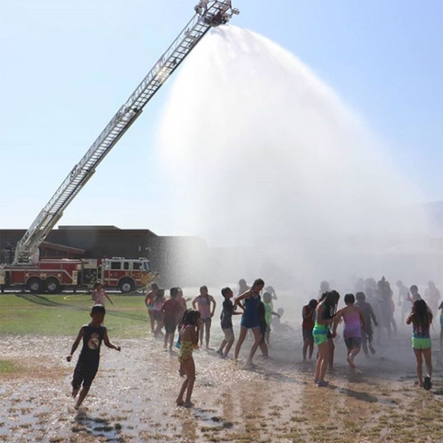 Fillmore Fire Department visited both San Cayetano and Rio Vista Elementary school for the Annual Wet Down. Pictured