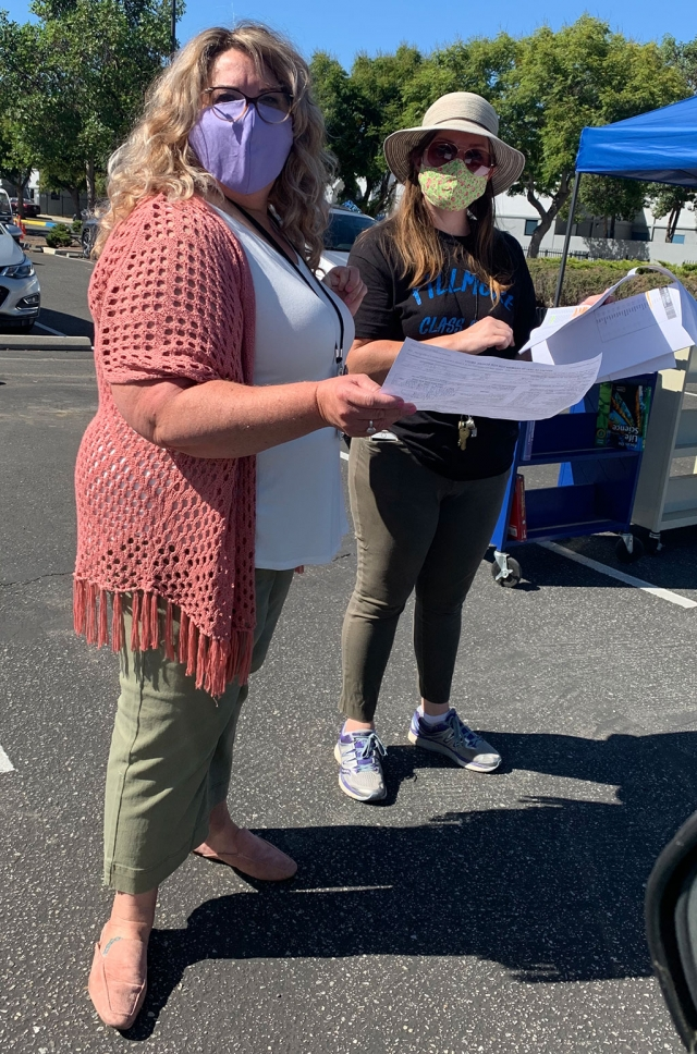Preparing for remote school to begin, drive-thru pickup was open last Wednesday, August 12th at the Fillmore Middle School parking lot. Nurse Karen was there to collect immunization records, while Assistant VP Cara checked to make sure everyone was enrolled.