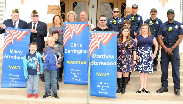 On Wednesday, June 5th, at 10 a.m., three new Military Banners were installed. Family and friends came out for the dedication. Pictured above are the banners for Matthew Stanwood (USMC), Chris Berrington (Navy), and Mikey Arredondo (Navy), with their family and friends Kassondra Stanwood, Julie Gurkweitz, Bud Gurkweitz, Joe Gosser, Jo-Ellen Poston, Caroline Gurkweitz, Domitri Gurkweitz, Jan Chennault, John Berrington, Stacey Berrington, Nancy Cottrell, Garrett Swetman, Wyatt Swetman, Emmett Swetman, and Station 27 Fire Fighters.