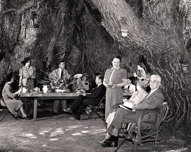 A group gathered for tea under the Pepper tree in 1940. Photos courtesy Fillmore Historical Museum.