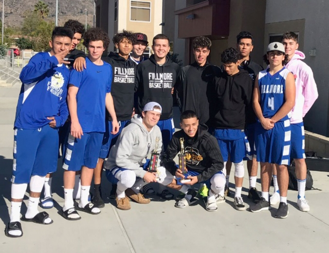 The Fillmore Flashes Boys Basketball team with their 1st place trophy as well as Flashes Jake Saviers with his MVP trophy from the Northeast Valley Tournament. Photos courtesy Coach Mark Blankenship.