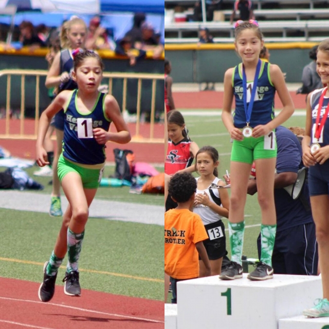 Heritage Valley Blazer Paola Estrada who broke another record in the 9/10 year old division 1500m relay with a time of 5:32.08, and also took first place in the 800m relay with a time of 2:40.04. Photos courtesy Margarita Felix.