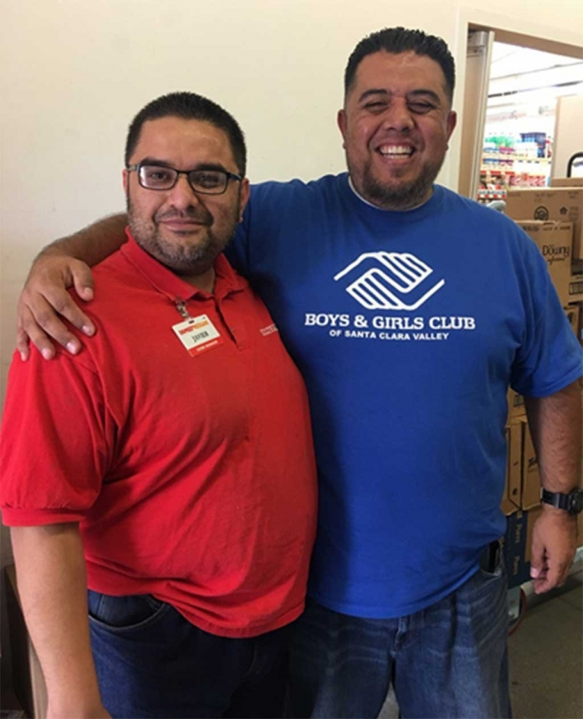 "Fillmore Site Director Buddy Escoto is pictured with Fillmore's Family Dollar Store Manager Javier Ramirez. The National Organization of Boys & Girls Club of America has partnered with Family Dollar Tree Stores across the United States. The Boys & Girls Club of Santa Clara Valley is excited to have a Family Dollar Store in Fillmore to partner with, ""Javier is a cool guy and has always supported us"" states Fillmore Site Director, Biddy Escoto. Thank you Family Dollar Store."
