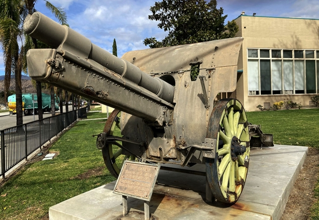 "After the 1994 Northridge Earthquake the cannon was moved and now sits in front of the Fillmore Veterans Memorial Building on 2nd Street. The plaque reads ""W.W.I Cannon Donated by the U. S. Govt. to the City of Fillmore in 1921. Dedicated to all the men and women who serve their country. W.F.W. 9637 – 2001"". Photos courtesy Fillmore Historical Museum."