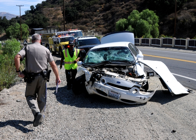 On Monday, August 26th at 9:57 a.m., a collision was reported on Grimes Canyon Road and Bardsdale Avenue. Once on scene crews found a white Ford sedan and a white Chevy pickup truck had collided, leaving the white Chevy truck in a ditch.