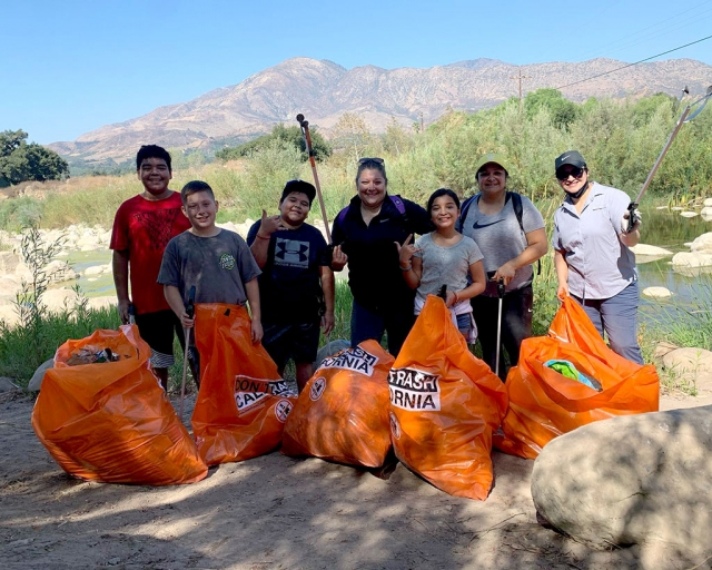 Saturday, September 26th the Santa Clara and Historical Museum Sespe riverbed, trails, and path clean up took place starting at Shiell's Park in Fillmore. Caltrans kindly donated trash bags and loaned 20 trash grabbers for volunteers to use. Pictured are a group of kids and their moms who helped with clean up, along with other groups such as the Bearded Villains of Ventura who came out to help.
