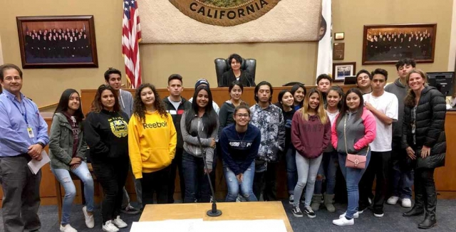 Tuesday March 13th Fillmore's Sierra High School's Street Law class visited the Ventura County Government Center. During their visit students were able to visit multiple courtrooms as well as conduct a few mock trials. Photos courtesy Kim McMullen.
